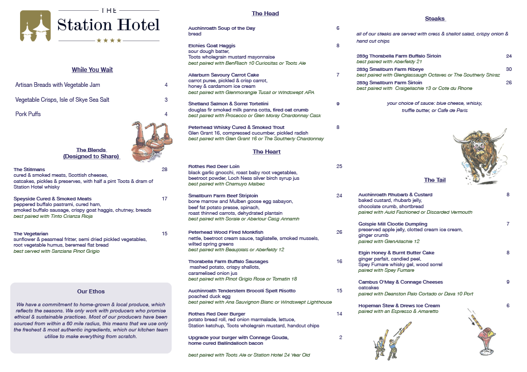 The Station Hotel Menu